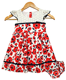 Bella Moda Floral Printed Dress With Bloomer - Red & White