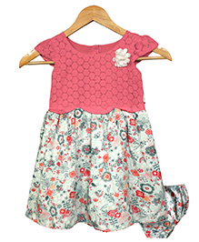 Bella Moda Attractive Set Of Floral Print Dress With Bloomer - Pink & Multicolor