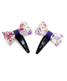 Pink Velvetz Floral Bow Hair Clip - White