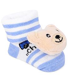 Cute Walk By Babyhug Sock Shoes Bear Face Motif & Stripes Design - Blue & White