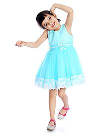 Little Pockets Store Semi Printed Lace Dress - Ocean Green