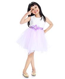Little Pockets Store Semi Printed Frill tulle Dress - Purple & White
