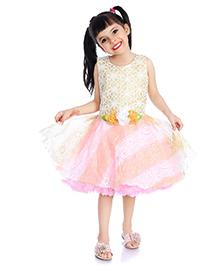 Little Pockets Store Semi Sequenced Drop Waist Frill Dress - Pink
