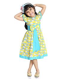 Little Pockets Store Cloud Printed Summer Dress - Yellow