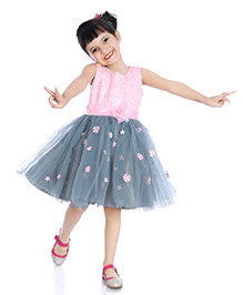 Little Pockets Store Semi Sequenced Frill Tulle Dress - Grey
