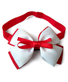 Keira'S Pretties Double Bow On Shimmery Baby Headband - Red & White