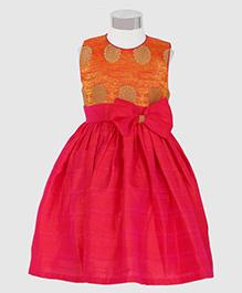 The KidShop Ethinc Circle Motif Print Dress - Orange & Pink