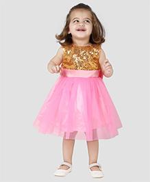 The KidShop Sequins Embeliished Party Dress - Pink & Golden