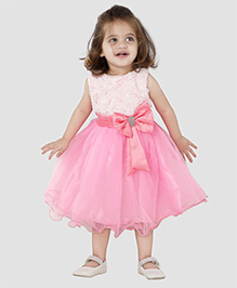 The KidShop Stylish Rosette Party Dress - Pink & White