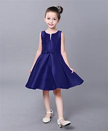 The KidShop Elegant Satin Dress with Pleats & Bow - Blue