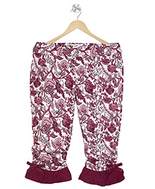 Young Birds Lacy Frilled At The Bottom Pant - Maroon