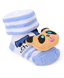 Cute Walk By Babyhug Sock Shoes Panda Face Motif & Stripes Design - Blue White & Brown