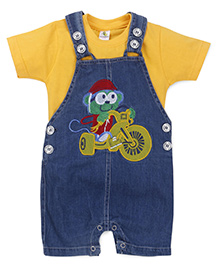 Cucumber Dungarees With T-shirt Cartoon Embroidery - Yellow And Blue