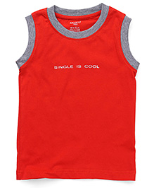 Smarty Sleeveless T-Shirt With Print - Fire Red