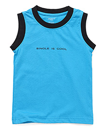 Smarty Sleeveless T-Shirt With Print - Aqua Blue