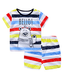 Pre Order - Superfie Hello Mixprinted Tee & Shorts - Multicolour