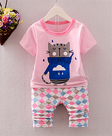 Pre Order - Superfie Cat Printed Tee & Checkered Bottom - Pink
