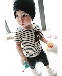 Pre Order - Superfie Stripes Teddy Patched Tee & Bottom - Blue