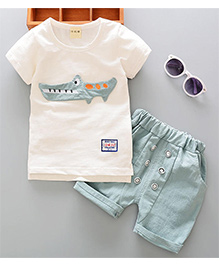 Pre Order - Superfie Alligator Patched Tee & Shorts - Light Green