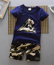 Pre Order - Superfie Camouflage Triangle Patched Tee & Shorts - Navy Blue