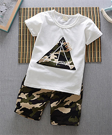 Pre Order - Superfie Camouflage Triangle Patched Tee & Shorts - White