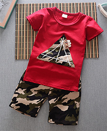 Pre Order - Superfie Camouflage Triangle Patched Tee & Shorts - Red
