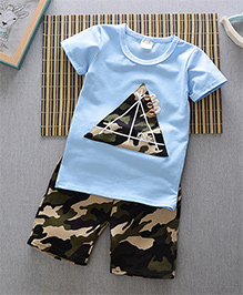 Pre Order - Superfie Camouflage Triangle Patched Tee & Shorts - Sky Blue