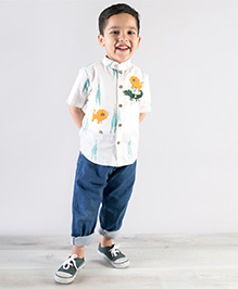 Tiber Taber Crocodile Felt Toys Applique Shirt - White