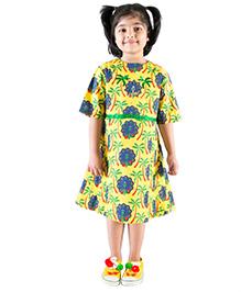 Tiber Taber Peacock Print Dress - Yellow