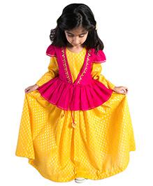 Tiber Taber Marigold Peplum Jacket With Dress - Yellow
