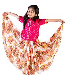 Tiber Taber Floral Tier Ghaghra Side Slit Choli - White & Pink