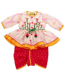 Tiber Taber Ikat Set Of Angrakha & Dhoti - Pink & Red