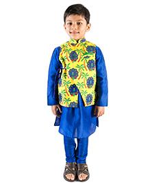 Tiber Taber Peacock Print Nehru Jacket With Kurta & Payjama - Yellow & Blue