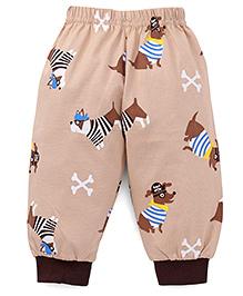 Mini Taurus Full Length Track Pants Puppy Print - Beige