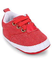 Cute Walk by Babyhug Shoe Style Booties - Red & White