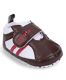 Cute Walk by Babyhug Shoe Style Booties - Dark Brown & White