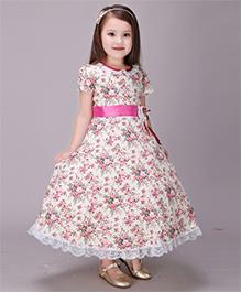 Pre Order - Awabox Floral Long Dress - White