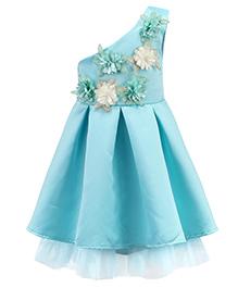 Pre Order - Awabox One Shoulder Cut Fabric Flower Applique Dress - Blue