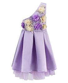 Pre Order - Awabox One Shoulder Cut Fabric Flower Applique Dress - Purple