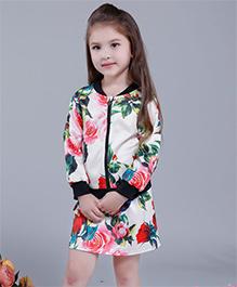 Pre Order - Awabox Floral Zipper Dress - White