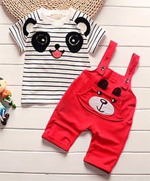 Pre Order - Awabox Panda Print Stripe T-Shirt With Dungaree Set - Red