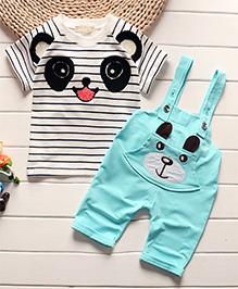 Pre Order - Awabox Panda Print Stripe T-Shirt With Dungaree Set - Blue