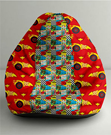 Orka Disney Pixar Cars Digital Printed Bean Bag Red And Multi Color - Small