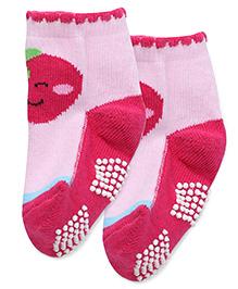 Mustang Anti Skid Socks Strawberry Design - Pink
