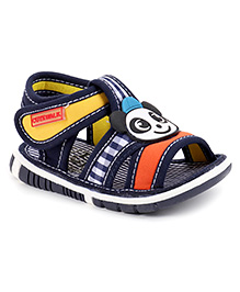 Cute Walk by Babyhug Sandals Velcro Closure Patch & Check Design - Navy