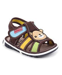 Cute Walk by Babyhug Sandals Velcro Closure Teddy Patch - Brown