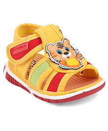 Cute Walk by Babyhug Sandals Velcro Closure Tiger Patch - Yellow