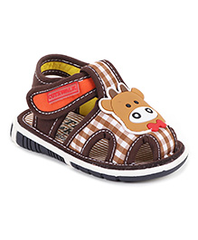 Cute Walk by Babyhug Sandals Velcro Closure Cow Patch - Brown