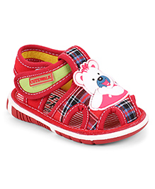 Cute Walk by Babyhug Sandal Bear Face Patch & Checks Design - Red