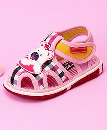 Cute Walk by Babyhug Sandal Bear Face Patch & Checks Design - Light Pink